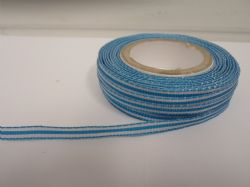 Turquoise pencil stripe ribbon 2 metres or full roll (25 metres) 5mm 10mm double sided